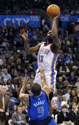 Oklahoma City Thunder Guard James Harden (13) Collides