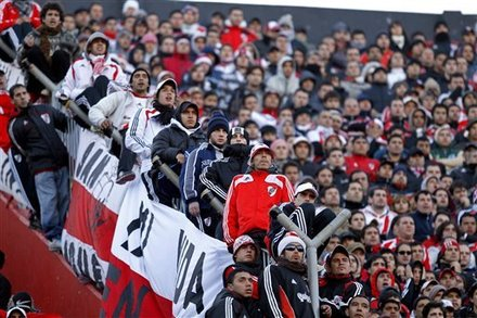 River Plate Soccer Fans Watch The End Of An Argentine Demotion Soccer Game Against Belgrano In Buenos Aires, Argentina,