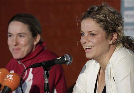 Belgium's Kim Clijsters, Right, And Belgium's Justine Henin, Address