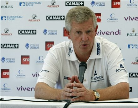 The captain of the European Ryder Cup team Scottish player Colin Montgomerie addresses reporters during a press conference held at the Joyenval golf course, in Chambourcy, west of Paris, Wednesday Sept. 22, 2010, on the eve of the Vivendi Cup. The Vivendi Cup, a new men's international golf tournament featuring on the European Tour International Shedule will be held here from Sept 23 to Sept. 26 .