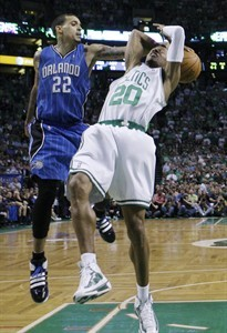 Orlando Magic forward Matt Barnes(notes) (22) strips the ball from Boston Celtics guard Ray Allen(notes) (20) in the fourth quarter of Game 4 in the NBA Eastern Conference basketball finals in Boston, Monday, May 24, 2010.
