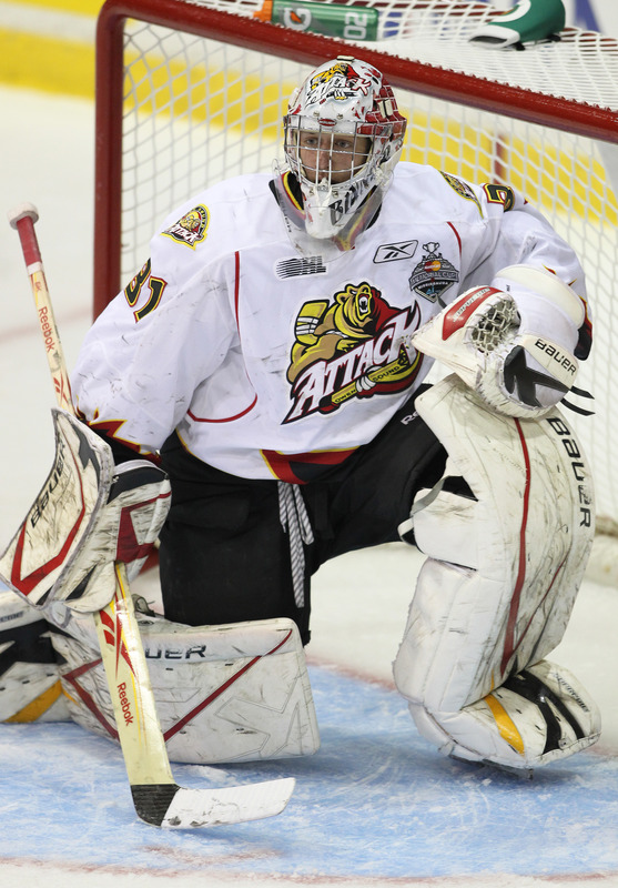   Jordan Binnington #31 Of The Owen Sound Attack Makes