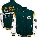 Green Bay Packers Green Super Bowl XLV Champions 4X Champs Wool & Leather Jacket-