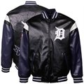 Detroit Tigers Black Pleather Varsity Full Zip Jacket