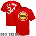 Majestic Houston Rockets #34 Hakeem Olajuwon Red Retired Player Throwback Big Sizes T-shirt