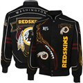 Washington Redskins Black On Fire Full-Button Twill Jacket