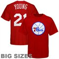 Majestic Philadelphia 76ers #21 Thaddeus Young Red Player Big Sizes T-shirt