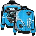 Carolina Panthers Black-Panther Blue Red Zone Twill Full-Button Jacket