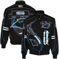 Carolina Panthers Black On Fire Full Button Twill Jacket