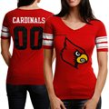 adidas Louisville Cardinals Ladies Football V-Neck Premium T-Shirt - Red
