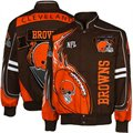 Cleveland Browns Brown-Orange Red Zone Twill Full Button Jacket