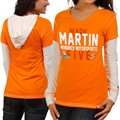 Chase Authentics Mark Martin Ladies Double Layer Hooded Long Sleeve Premium T-Shirt - Orange-White