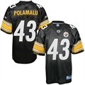 Reebok NFL Equipment Pittsburgh Steelers #43 Troy Polamalu Black Replica Football Jersey
