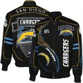 San Diego Chargers Black On Fire Cotton Twill Full Button Jacket