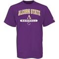 Russell Alcorn State Braves Purple Baseball T-shirt