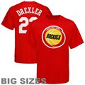 Majestic Houston Rockets #22 Clyde Drexler Red Retired Player Throwback Big Sizes T-shirt