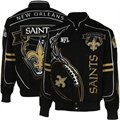 New Orleans Saints Black On Fire Cotton Twill Full Button Jacket
