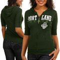 Portland State Vikings Ladies Green Game Time Half Sleeve Full Zip Hoodie Sweatshirt