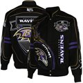 Baltimore Ravens Black On Fire Cotton Twill Full Button Jacket