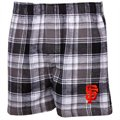 San Francisco Giants Black-White Plaid Legend Flannel Boxer Shorts