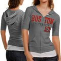 Boston Terriers Ladies Gray Everlast Short Sleeve Full Zip Hoodie Jacket