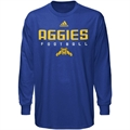 adidas North Carolina A&T Aggies Royal Blue Sideline Long Sleeve T-shirt