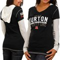 Chase Authentics Jeff Burton Ladies Double Layer Hooded Long Sleeve Premium T-Shirt - Black-White