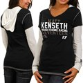 Chase Authentics Matt Kenseth Ladies Double Layer Hooded Long Sleeve Premium T-Shirt - Black-White