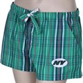 New York Jets Ladies Green Spectrum Woven Plaid Shorts