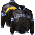 San Diego Chargers Black-Navy Blue Elite Varsity Full Zip Leather Jacket