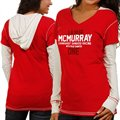 Chase Authentics Jamie McMurray Ladies Double Layer Hooded Long Sleeve Premium T-Shirt - Red/White
