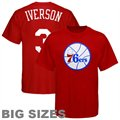Majestic Philadelphia 76ers #3 Allen Iverson Red Player Big Sizes T-shirt