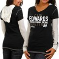 Chase Authentics Carl Edwards Ladies Double Layer Hooded Long Sleeve Premium T-Shirt - Black-White