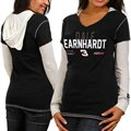 Chase Authentics Dale Earnhardt Ladies Double Layer Hooded Long Sleeve Premium T-Shirt - Black-White