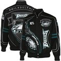 Philadelphia Eagles Black On Fire Cotton Twill Full Button Jacket