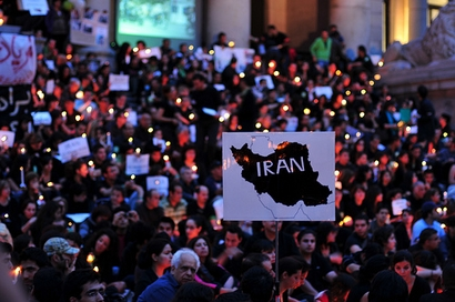 People gather for a silent protest of Iran's presidential ...