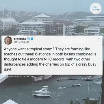 Theyre forming like roaches. The 6 tropical storms whirling at once have tied a record