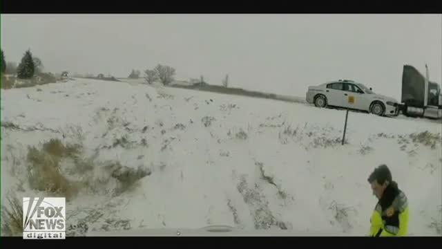 Iowa State Patrol trooper nearly hit by truck
