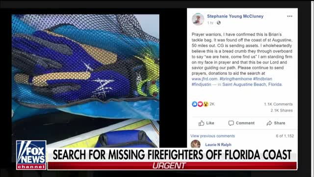 Sister of firefighter missing off Florida coast says her
