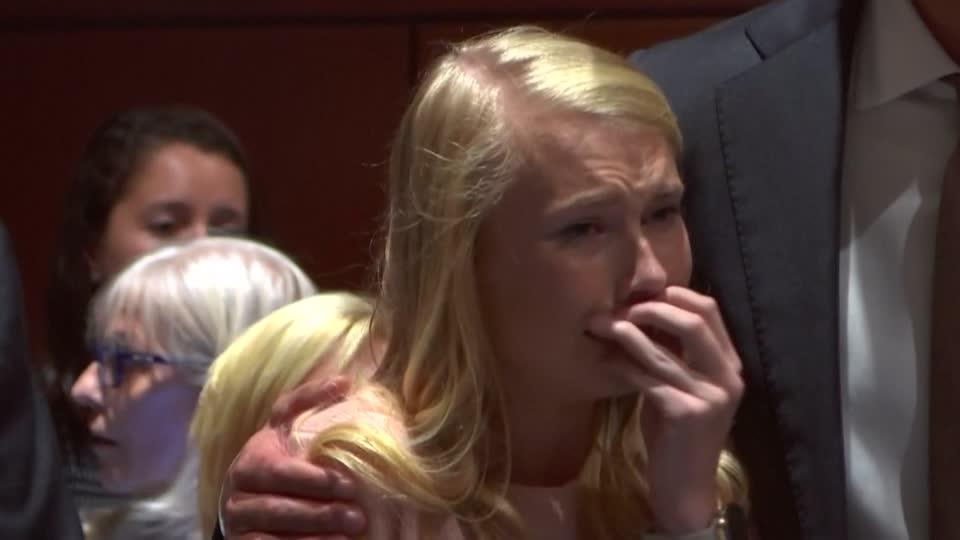 Ohio cheerleader bursts into tears as murder verdict is read