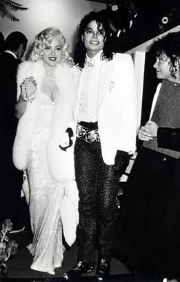 Michael Jackson poses with a 'Marilyn Monroe' Madonna at a 63rd ...