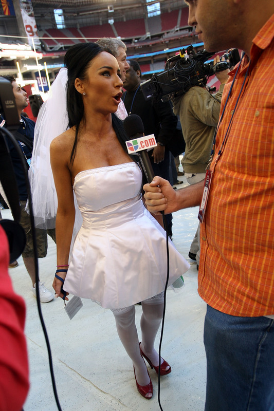 GLENDALE, AZ - JANUARY 29: Ines Gomez Mont of TV Azteca is interviewed during New England Patriots media day for Super Bowl XLII at University of Phoenix Stadium on January 29, 2008 in Glendale, Arizona. (Photo by Scott Halleran/Getty Images)