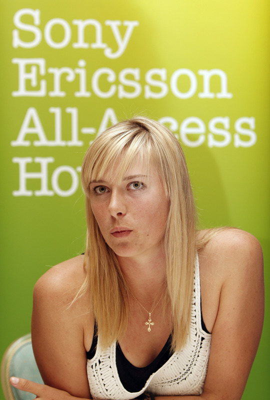 DOHA, QATAR - FEBRUARY 18:  Maria Sharapova of Russia talks to the media prior to the opening cermemony of the WTA Qatar Total Open on February 18, 2008 in Doha, Qatar.  (Photo by Jasper Juinen/Getty Images)