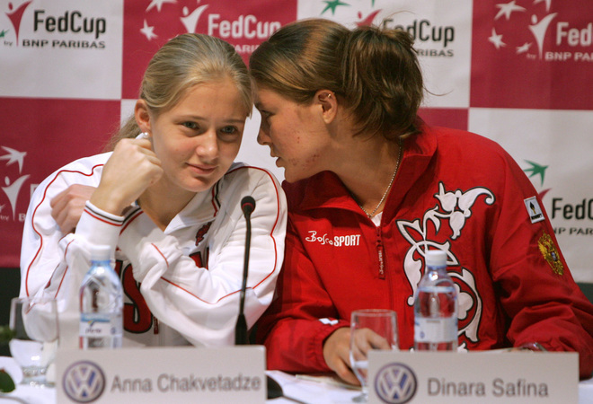Russian tennis players Anna Chakvetaddze (L) and Dinara Safina (R) attend a press conference along with members of the Russian team prior to their Fed Cup match against Israel which will take place later this week in Tel Aviv, 29 February 2008 in the Israeli coastal town of Herzliya. Australian Open champion Maria Sharapova committed herself to making her belated Fed Cup debut for Russia next weekend. The 20-year-old will spearhead the opening round of Russia's Fed Cup defence away to Israel in the February 2-3 World Group tie. AFP PHOTO/JACK GUEZ (Photo credit should read JACK GUEZ/AFP/Getty Images)