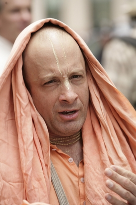 A man from the Hare Krishna Movement  participates in the Ratha ...